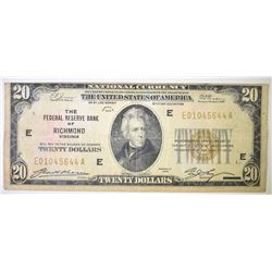 1929 $20 FEDERAL RESERVE BANK OF RICHMOND