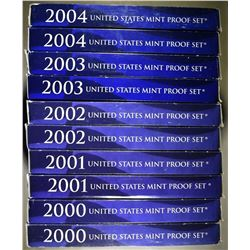 2-EACH 2000-2004 U.S PROOF SETS ORIG PACKAGING