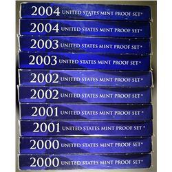 2-EACH 2000-2004 U.S PROOF SETS ORIG PACKAGING
