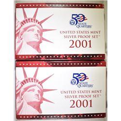 2-2001 U.S. SILVER PROOF SETS OGP