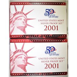 2-2001 U.S. SILVER PROOF SETS OGP