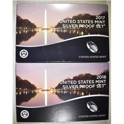 2017 & 18 U.S. SILVER PROOF SETS OGP