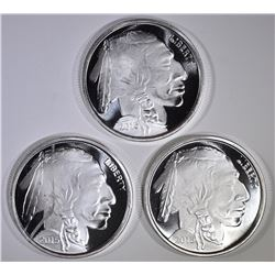 3-ONE OUNCE .999 SILVER BUFFALO ROUNDS