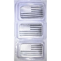 3-ONE OUNCE .999 SILVER AMERICAN FLAG BARS