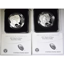 2-2015 MARCH OF DIMES Pf COMMEM SILVER DOLLARS