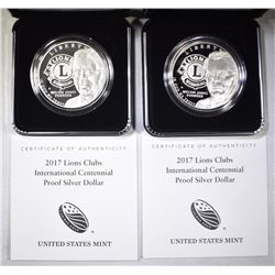 2-Pf 2017 LIONS CLUB COMMEM SILVER DOLLARS