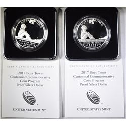 2-Pf 2017 BOYS TOWN COMMEM SILVER DOLLARS