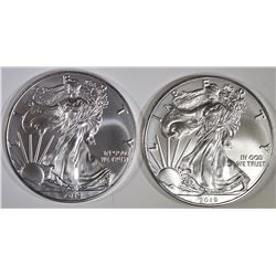 2-GEM BU 2019 AMERICAN SILVER EAGLES