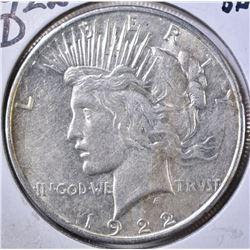 1922-D PEACE DOLLAR, BU