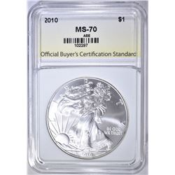 2010 AMERICAN SILVER EAGLE, OBCS PERFECT GEM BU
