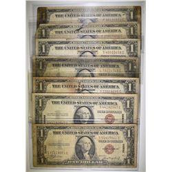 7 1935 $1 HAWAII SILVER CERTIFICATES LOW GRADE