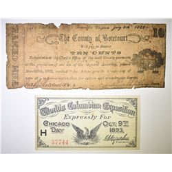 COLUMBIAN EXPO TICKET & 10c COUNTY BEARER BOND