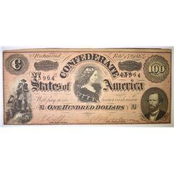 1864 $100 CONFEDERATE NOTE
