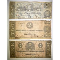 $1, $2, $5 CONFEDERATE CURRENCY