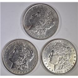 3-AU/BU MORGAN DOLLARS: 1889, 1898-O & 1900