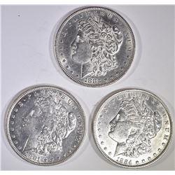 3-AU/BU MORGAN DOLLARS: 1881-O, 1883 & 84-O