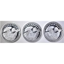3-RIGHT TO BEAR ARMS ONE Oz .999 SILVER ROUNDS