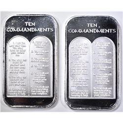 2-TEN COMMANDMENTS 1Oz .999 SILVER BARS