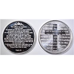 LORD'S PRAYER & PSALM 23 1oz .999 SILVER ROUNDS