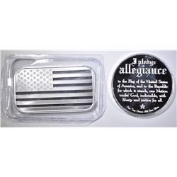 PLEDGE ALLEGIANCE & AMERICAN FLAG 1oz SILVER PCS