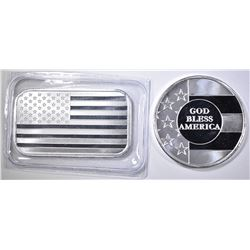 GOD BLESS AMERICA & AMERICAN FLAG 1oz SILVER PCS