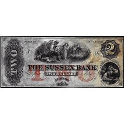 1800's $2 The Sussex Bank New Jersey Obsolete Note