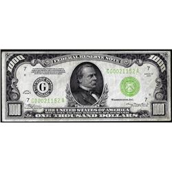 1934 $1,000 Federal Reserve Note Chicago Light Green Seal