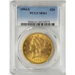 1904-S $20 Liberty Head Double Eagle Gold Coin PCGS MS61
