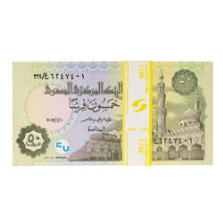 Pack of (100) Uncirculated 2017 Egypt 50 Piastres Bank Notes