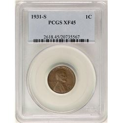 1931-S Lincoln Wheat Cent Coin PCGS XF45