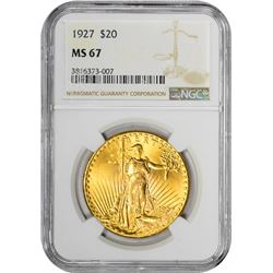1927 $20 St. Gaudens Double Eagle Gold Coin NGC MS67