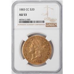 1883-CC $20 Liberty Head Double Eagle Gold Coin NGC AU53