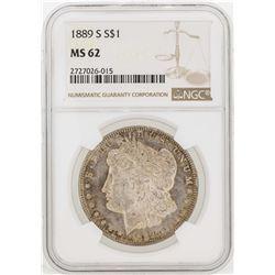1889-S $1 Morgan Silver Dollar Coin NGC MS62