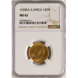 1928A South Africa Sovereign Gold Coin NGC MS62