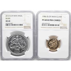 Set of Isle of Man 2014 Silver Angel NGC MS68 & 1986 1/4 Angel Gold Coins PF68 Cameo