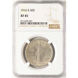 1916-S Walking Liberty Half Dollar Coin NGC XF45