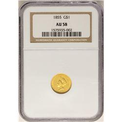 1855 $1 Indian Princess Head Gold Dollar Coin NGC AU58