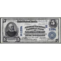 1902PB $5 American Exchange Bank New York, NY CH# 1394 National Currency Note