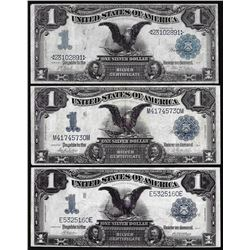 Lot of (3) 1899 $1 Black Eagle Silver Certificate Notes