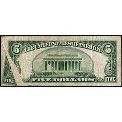 1953 $5 Silver Certificate Note Gutter Fold ERROR