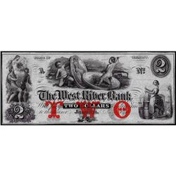 1800's $2 The West River Bank Jamaica, VT Obsolete Bank Note