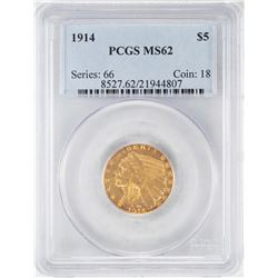 1914 $5 Indian Head Half Eagle Gold Coin PCGS MS62