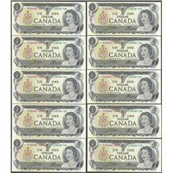 Lot of (10) Consecutive 1973 $1 Bank of Canada Notes - Uncirculated