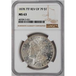 1878 7TF Rev of 79 $1 Morgan Silver Dollar Coin NGC MS63