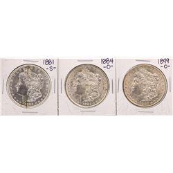 Lot of 1881-S, 1884-O, & 1899-O $1 Morgan Silver Dollar Coins