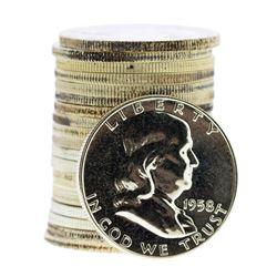 Roll of (20) Proof 1958 Franklin Half Dollar Coins