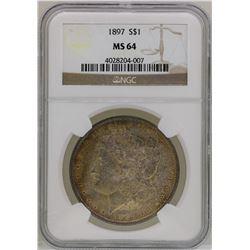 1897 $1 Morgan Silver Dollar Coin NGC MS64