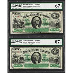 Matching  Low Serial 1872 $50 South Carolina Obsolete Notes PMG Superb Gem Unc. 67EPQ
