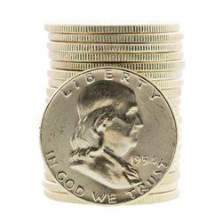 Roll of (20) Brilliant Uncirculated 1954 Franklin Half Dollar Coins
