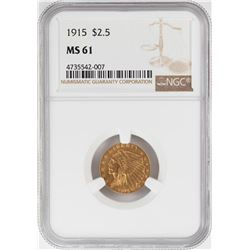 1915 $2 1/2 Indian Head Quarter Eagle Gold Coin NGC MS61
